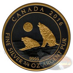 Howling Wolf Gold Black Empire Edition Coin .9999 2016 Canada