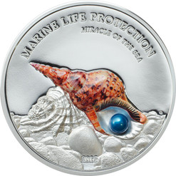 PEARL Triton trumpet - Miracle of the Sea - 2016 $5 1 oz Pure Silver Coin