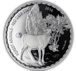 2016 1 oz Red Deer Stag .999 Silver Burkina Faso 1000 Francs
