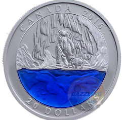 CANADA 2016 Exclusive POLAR BEAR w/ Blue Enamel ICEBERG 1oz Silver Coin