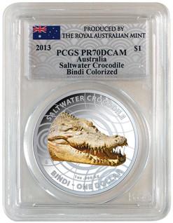 "Saltwater Crocodile ""Bindi"" PCGS PR70 1 oz Silver Proof Aus 2013"