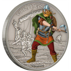 WARRIORS OF HISTORY - VIKINGS - 2016 1 oz Silver Coin - Niue