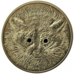 RACCOON  - Forest Animals Silver Coin 1/2 oz. 20 Vatu Vanuatu 2013