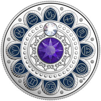 CAPRICORN Zodiac $3 Silver Proof  two Swarovski Crystals 2017 Canada