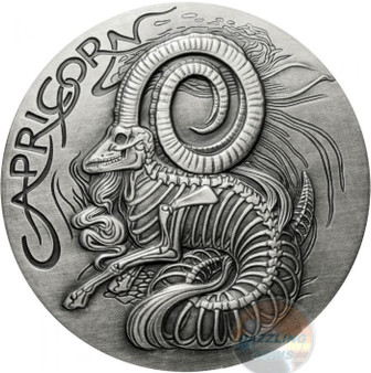 Capricorn Memento Mori Zodiac Skull Horoscope Silver 1 oz Coin High Relief