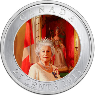 2013 '60th Ann. of The Queen's Coronation' Colorized 25Ct Coin