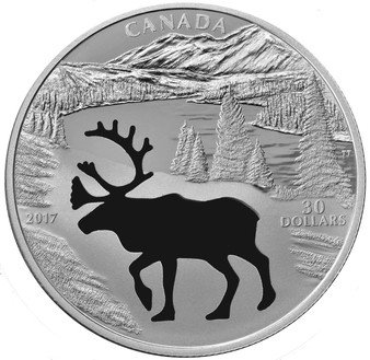 WOODLAND CARIBOU Cutout 1.7 oz $30 Silver Proof coin Canada 2017