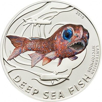 LANTERN FISH Deep Sea Fish Silver Coin 2$ Pitcairn Islands 2010