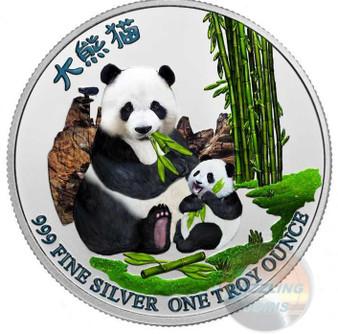 PANDA with Cub 1 oz Pure Silver Color Coin Niue 2017