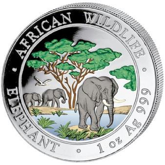 2012 1 oz Color Silver Elephant Coin - 100 Shillings Somalia