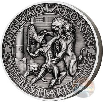 BESTIARIUS Gladiators 2 Oz High Relief Silver Coin