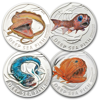DEEP SEA Fish 4-Coin Silver Proof Set 2010-2013 Pitcairn Islands