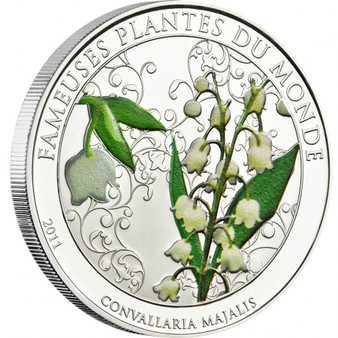 LILY of the VALLEY with Scent Silver plated Coin 100 Francs Benin 2011