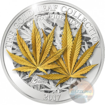 HEMP LEAF 3D Gold Leaf Collection 1 Oz Silver Coin 5$ Samoa 2017