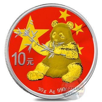 CHINESE FLAG Panda Silver Coin 10 Yuan China 2017