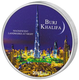 BURJ KHALIFA Magnificent Landmarks at Night - 2000 CFA 2oz Silver Coin - Cameroon 2017