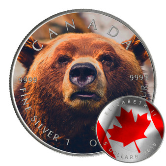 GRIZZLY BEAR - CANADIAN WILDLIFE SERIES - 2016 1 oz Pure Silver Coin - Color & Antique Finish
