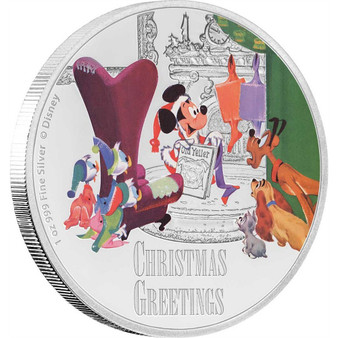 CHRISTMAS GREETINGS Mickey Mouse Seasons Disney 1 Oz Silver Coin 2$ Niue 2017