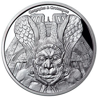 SPITTER Gargoyles & Grotesques Notre Dame de Paris Proof 1 Oz Silver Coin 1000 Fr. Chad 2017