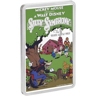 THE THREE LITTLE PIGS 1930's Disney poster 1 oz Silver Coin 2$ Niue 2017