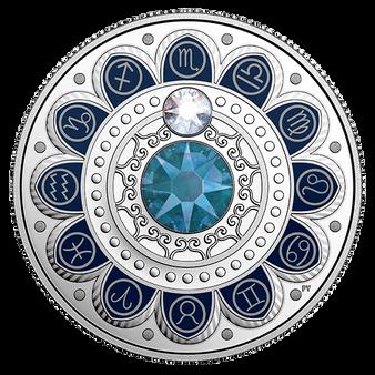 SCORPIO   Zodiac $3 Silver Proof  two Swarovski Crystals 2017 Canada