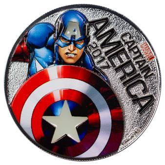CAPTAIN AMERICA - MARVEL LIGHT-UPS - 2017 Silver Plated $0.50 Coin - Fiji
