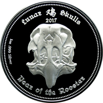 LUNAR SKULLS -Year of the Rooster 1 oz Proof  Coin 2017 Gabon