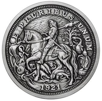 DURER's KNIGHT 1 oz Silver Antique finish round with Serial Number