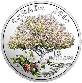 APPLE BLOSSOMS – CELEBRATION OF SPRING - 2018 $15 3/4 OZ Coin 2018