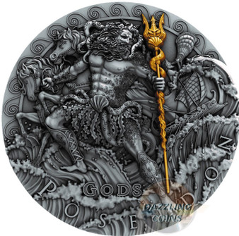 POSEIDON God Of the Sea Gods 2 Oz Silver Coin 2$ Niue 2018
