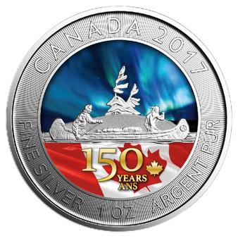 VOYAGER Canada's 150th Special Edition 1 oz Silver Color  Coin 2017