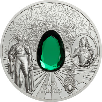 DRESDEN GREEN DIAMOND 2 Oz Silver Coin 10$ Cook Islands 2017