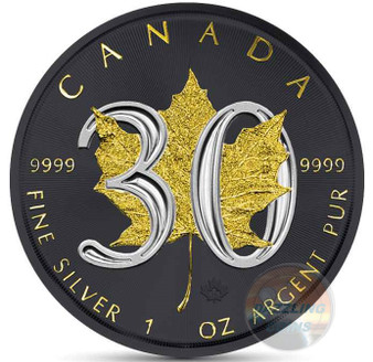30th Ann. Canadian Silver Maple - GOLD BLACK EMPIRE - 1 OZ SILVER COIN 2018