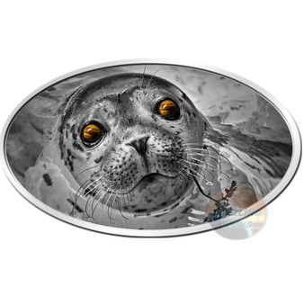 Baby Seal with Tiger-gem-eyes Silver Coin 2$ Niue 2018