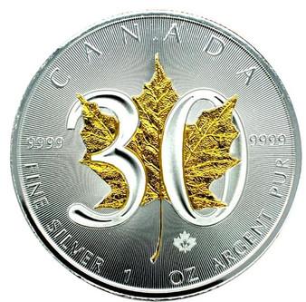 30th Ann. Canadian Silver Maple - 24K gold Gilded Leaf - 1 OZ SILVER COIN 2018