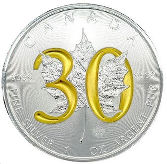 30th Ann. Canadian Silver Maple - 24K gold Gilded - 1 OZ SILVER COIN 2018