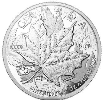1 oz.Silver Piedfort Coin - 25th Anniversary of the Silver Maple