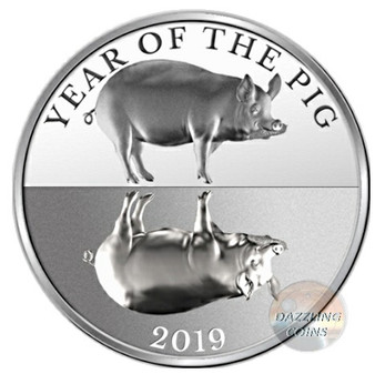 MIRROR PIG - Year of the Pig 1 oz Silver Coin 65mm Tokelau 2019