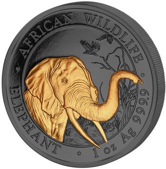 ELEPHANT Golden Enigma 1 Oz Silver Coin 100 Shillings Somalia 2018