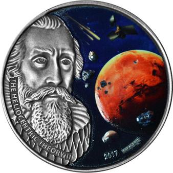 HELIOCENTRIC THEORY II Johannes Kepler 1 oz Silver Coin Burkina Faso 2017