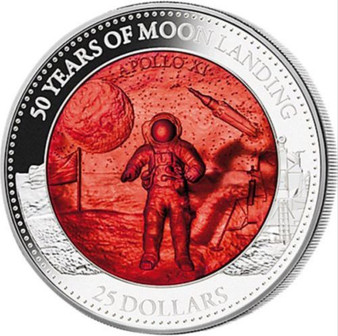 MOON LANDING 50th. Ann. Mother Of Pearl 5 Oz Silver Coin Solomon Islands 2019