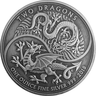 TWO DRAGONS Antique Finish 1 Oz Silver Coin 2£ United Kingdom 2018