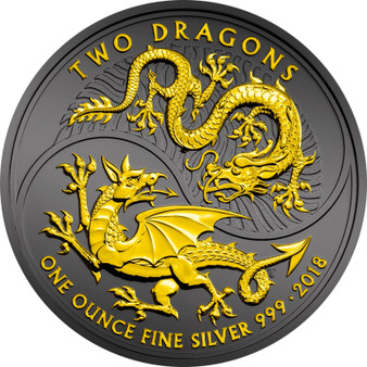TWO DRAGONS Black Ruthenium & 24K Gold Pl. 1 Oz Silver Coin UK 2018