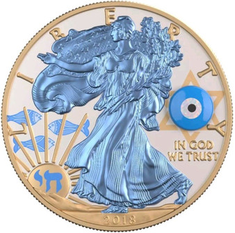 2018 GEMSTONE EVIL EYE EAGLE Walking Liberty 1 Oz Silver Coin