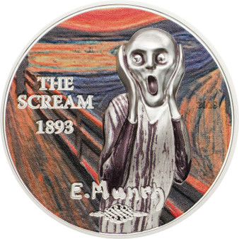 The SCREAM Edvard Munch High relief w/color 1 oz Silver Coin 5$ Palau 2018