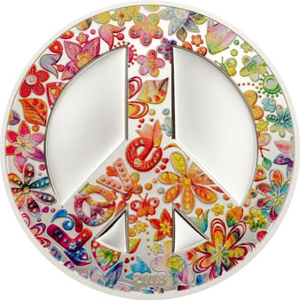 SUMMER OF LOVE Peace 1 Oz Silver Coin 5$ Palau 2018