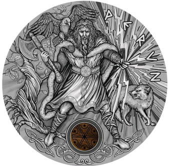 PERUN Thunder Slavic Gods 2 Oz Silver Coin 2$ Niue 2018
