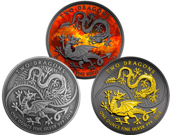 TWO DRAGONS  1 Oz Silver Coin UK 2018