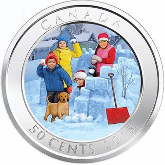 3D SNOWBALL FIGHT – Lenticular 3D 50 cent Coin Canada 2018