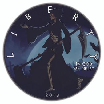 LIBERTY REAPER – RUTHENIUM and COLOR Liberty 1 Oz Silver Coin 2018
